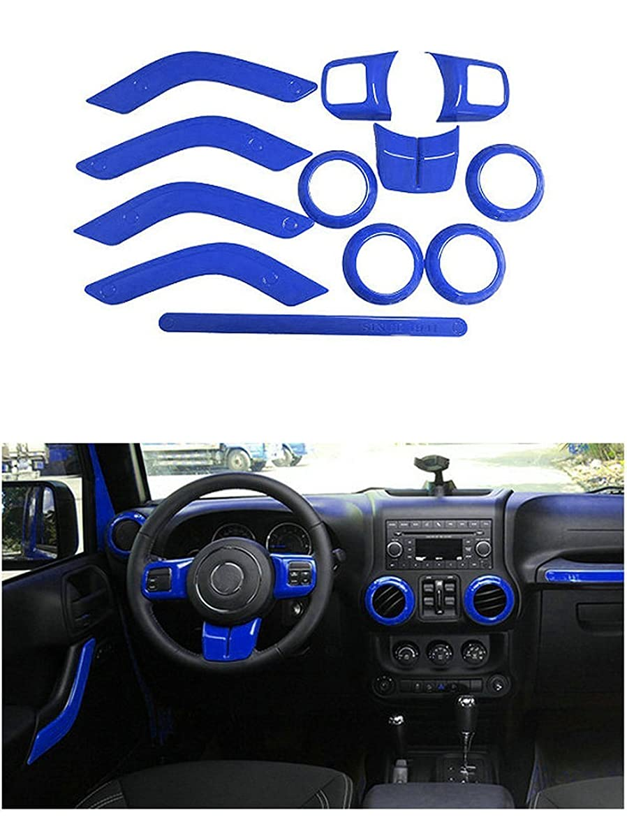 FMtoppeak Blue 12 Pcs/Kits ABS Auto Interior Parts Decoration Car Inner Dashboard Trim Cover for Jeep Wrangler 4 Door 2011-2017