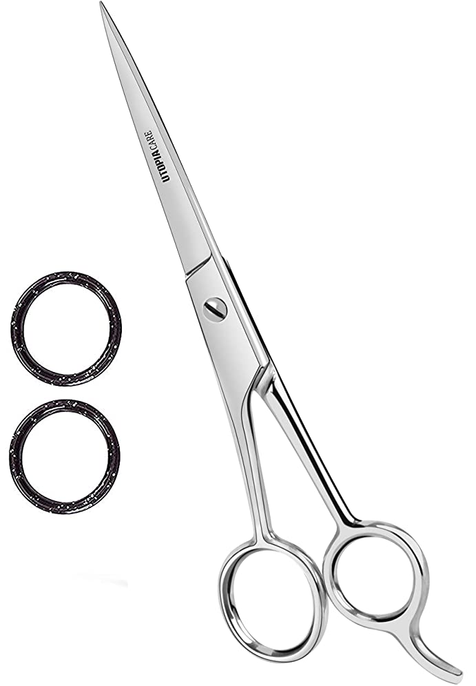 Professional Barber Hair Cutting Scissors/Shears (6.5-Inch) - Ice Tempered Stainless Steel Reinforced with Chromium to Resist Tarnish and Rust - by Utopia Care