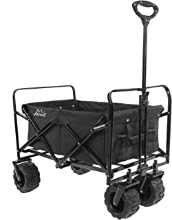 Maxwell Outdoor Heavy Duty Collapsible Folding All Terrain Utility Beach Wagon (Black)