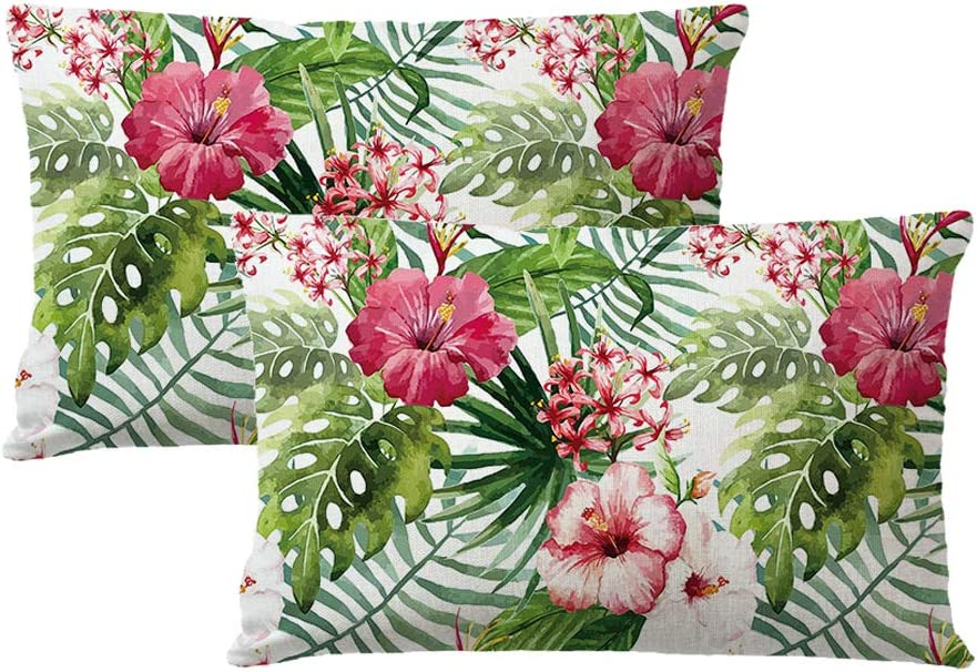 7COLORROOM 2pack Flower Throw Pillow Covers Tropical Leaves Home Decorative Rectangular/Waist Cushion Cover for Patio Sofa Couch Housewarming Gifts 12