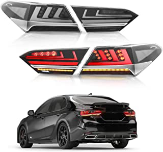 MOSTPLUS Smock Tinted LED Tail Lights for 2018 2019 Toyota Camry Rear Lamps Assembly w/Sequential Turn Light (Set of 2) (Red)