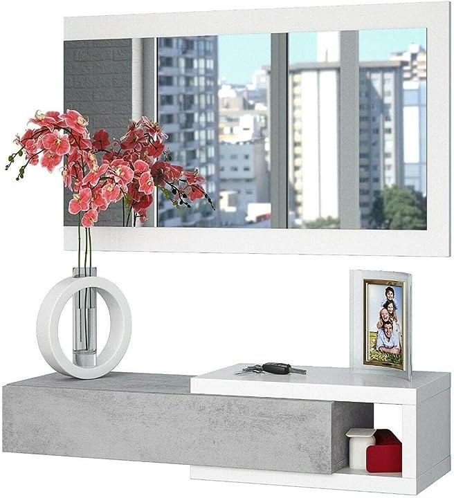 arreditaly mobiletto da ingresso sospeso con cassetto mensola e specchio arredo arredamento sala 81 x 116 x 29 cm 33249ab