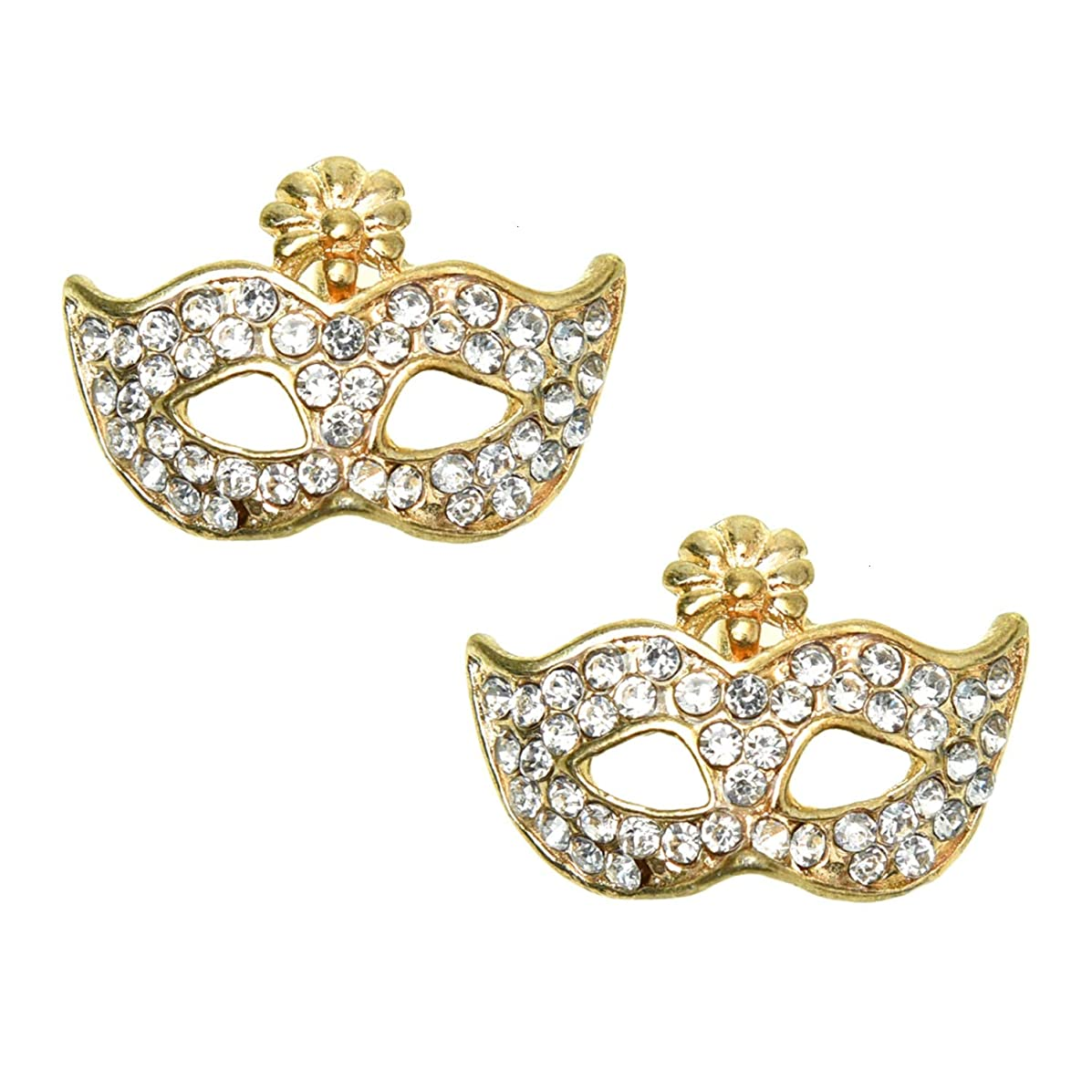 Monrocco 10Pcs Rhinestone Crystal Masquerade Mask Earrings Crystal Mask DIY Charms Pendant Jewelry Findings for Jewelry Making Necklace Bracelet DIY