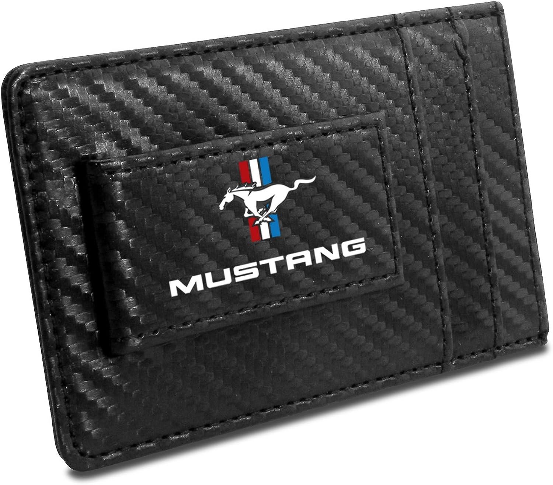 iPick Image Ford Mustang Tri-Bar Black Carbon Fiber Leather Wallet RFID Block Money Clip, 4-3/8