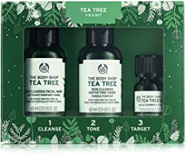 The Body Shop Tea Tree Skin Clearing Essentials Gift Set, 3pc Paraben-Free Skin Care Set for Blemish-Prone Skin