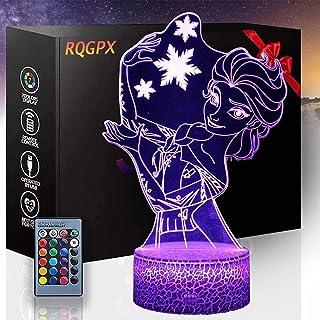 3D Illusion Light Frozen Elsa 3D Lamp Decor Lamp met Afstandsbediening, Verjaardagscadeaus voor Meisjes Jongens Leeftijd 2...