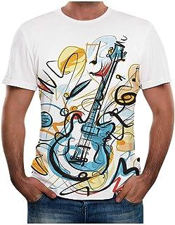 Camiseta Guitarra Eléctrica Camisetas Manga Corta Hombre Verano Camiseta Original Estampadas T Shirt Printed para Conciert...