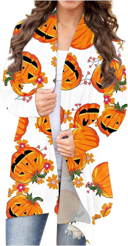 felwors Womens Halloween Cardigan, Womens Soft Open Front Autumn Coat Lightweight Cat Pumpkin Graphic Long Sleeve Blouse