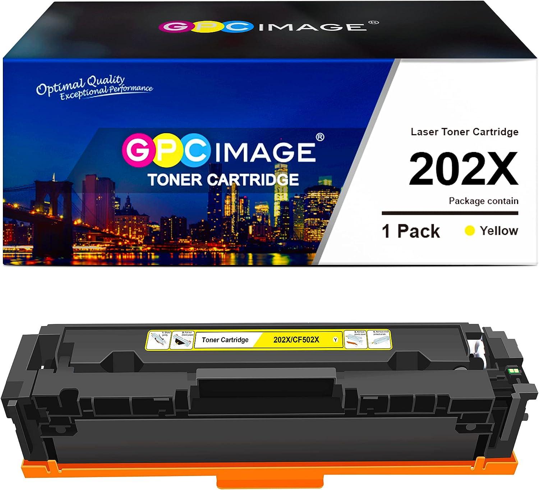GPC Image Compatible Toner Cartridge Replacement for HP 202X 202A CF500X CF500A to use with Laserjet Pro MFP M281fdw M254dw M281cdw M281 M281dw M280nw Toner Printer Tray (1 Yellow)