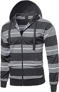 SBW Men's Basic Casual Stripe Zip Up Side Pocket Hoodie Jacket