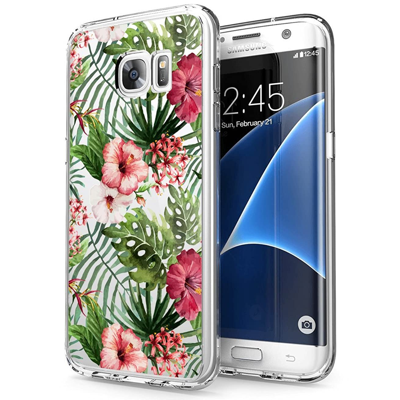 hekui Clear Phone Cover Skin, Ultra Durable Shock-Absorption Anti-slip Protection Scratch Resistant Shell Case for Samsung Galaxy S7, Tropical Patterns Pattern