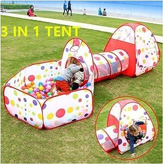 WLMGWRXB Mjukt lek inomhus-utomhus lektunnel och lektält Cubby-tub-Teepee 3-i-1 lekplats för barn baby barn (INGÅR EJ), röd