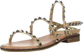 Steve Madden Women's Travel Flat Sandal, Tan, 11