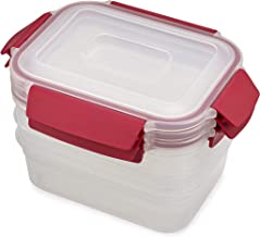 Joseph Joseph Nest Lock Plastic Food Storage Container Set with Lockable Airtight Leakproof Lids 6-piece, 37 ounces, Red