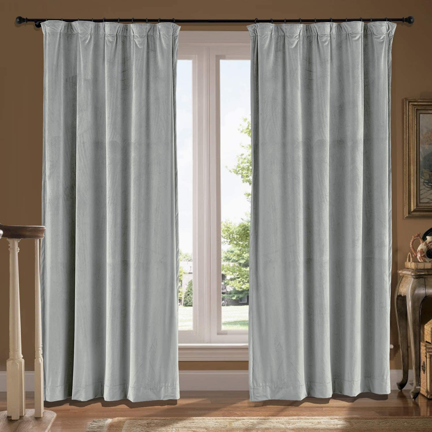 cololeaf Velvet Flat Hooks Curtain 公式通販 Solid ギフト Extra P Wide Door Patio