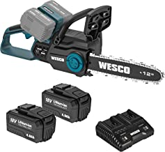 Chainsaw, WESCO 36V Cordless Chainsaw, 2Pcs 4.0Ah Li-ion Battery and Charger Included, Battery Chainsaw with 30 cm Cutting...