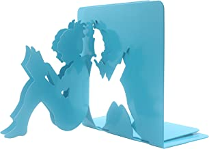 Y-H 3D Paper-cut Little Girl Is Reading Metal Bookends Book Ends For Kids Teachers Students Study Gift School Library Home Desk Office Decoration (Blue)