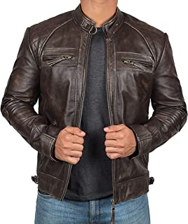 Brown Leather Jacket Men - Real Lambskin Distressed Black Leather Jackets for Men
