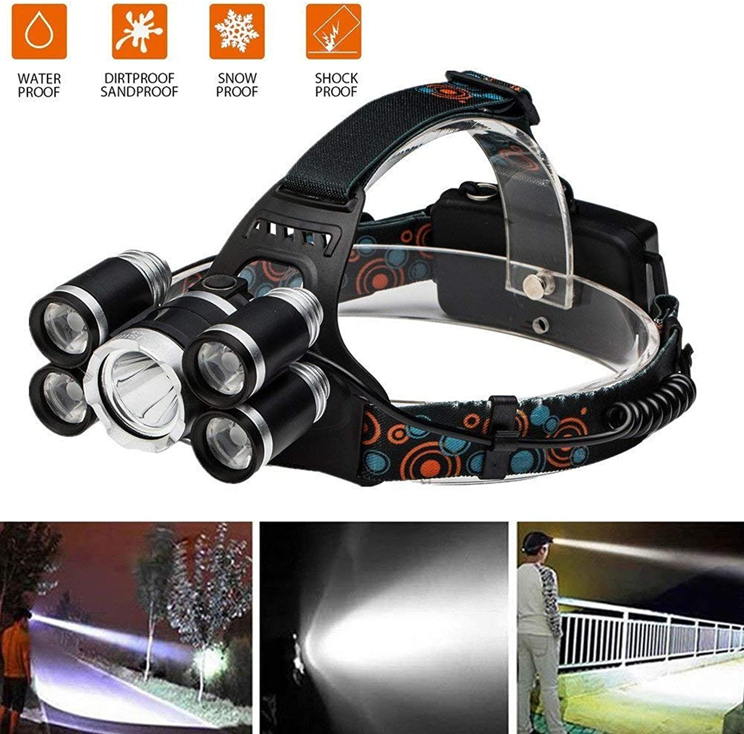 Newest Headlamp Flashlight,Brightest 12000 Lumen Powerful Led Headlight,Waterproof Hard Hat Light,Portable Head Lamp,CREE T6 Rechargeable Batteries,Best Head Lights for Camping Reading Outdoor Sports