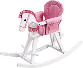 Teamson Kids - Safari Wooden Rocking Horse with Removeable Safety Surround Pad for Toddlers - White / Pink
