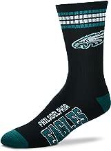 For Bare Feet NFL 4 Stripe Deuce Crew Socks Mens - Philadelpia Eagles