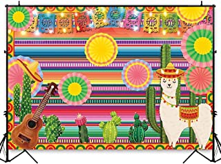 Funnytree 7x5ft Mexican Fiesta Theme Photography Backdrop Mexico Cactus Alpaca Party Background Cinco de Mayo Colorful Stripes Luau Carnival Banner Dress up Cake Table Decoration Photo Booth Props