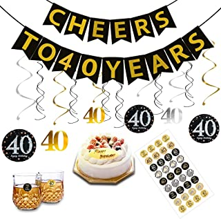 40th Birthday Party Decorations Kit for Men Women, Gold Glittery Cheers to 40 Years Banner 12 Pcs Hanging Swirls, 36 Pcs 40th birthday stickers, 40th Years Old Party Supplies Anniversary Decorations