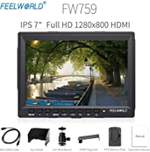 "Feelworld FW759 Camera Monitor 7"" HD 1280x800 Field Video LCD IPS Screen 800:1 High Contrast Ratio for Steady Cam, DSLR Rig, Camcorder Kit, Handheld Stabilizer"