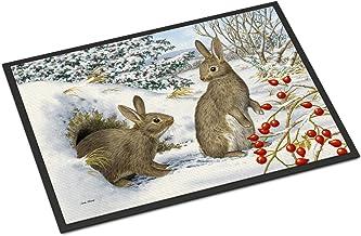 "Caroline's Treasures ASA2181MAT Winter Rabbits Indoor or Outdoor Mat, 18"" x 27"", Multicolor"