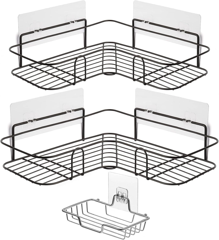 Estanteria Baño para Esquinas Estante Esquinas Ducha No Drill con Caja de Jabón Negro Estantería Ducha sin Taladros Organizador Baño para Cocina y Baño Cesta de Ducha para Champú 2 Piezas