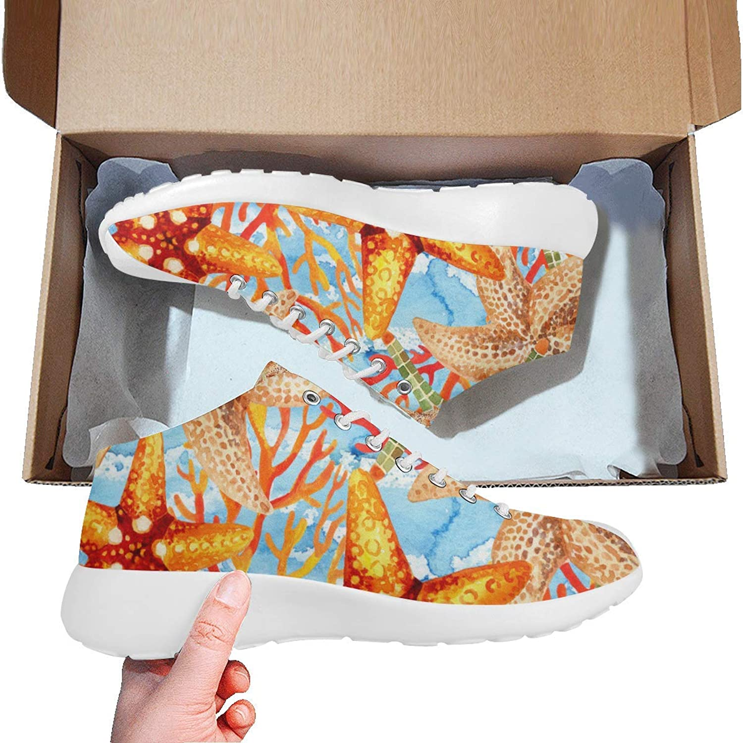 Women Basketball Running shoes Lightweight Sports Sneakerscolorful Starfishes Prints