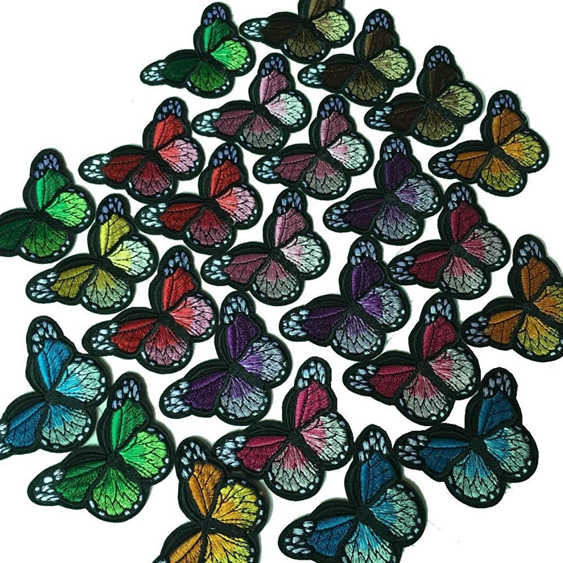 25 Piece Lovely Butterfly Patches Embroidery Sew On Appliques(random color)