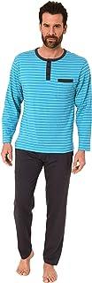 Casual Men's Pyjamas PJ Set in Striped Look, Button Facing at The Neck Sleepwear