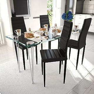 UnfadeMemory Conjunto de Mesa y Sillas de Comedor Cocina,Muebles de Comedor,Sillas de Cuero Artificial,Mesa de Vidrio Templado (5 Pzas, Negro y Transparente)