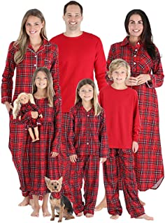 SleepytimePJs Christmas Family Matching Red Plaid Flannel Pajama Sets