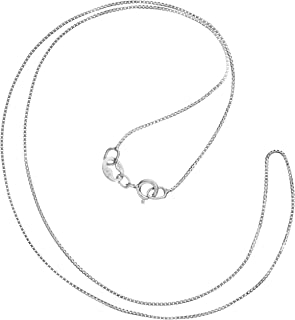14K Solid White Gold Necklace | Box Link Chain | 14 Inch Length | .60mm Thick | With Gift Box
