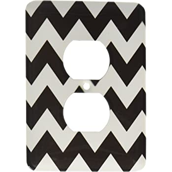3dRose lsp/_149894/_6  Black and White Chevron Pattern 2 Plug Outlet Cover
