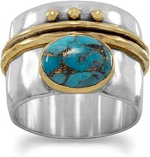 Martillo de plata de ley banda anillo chapado en oro fino diseño de lunares de banda–tamaño L 1/2