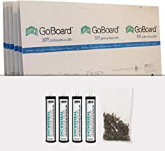 Backer Board Shower Surround Walls - GoBoard Install Kit (6 Sheets Covers 90SF, 4 Tubes Poly, 2.5lb. Screws)