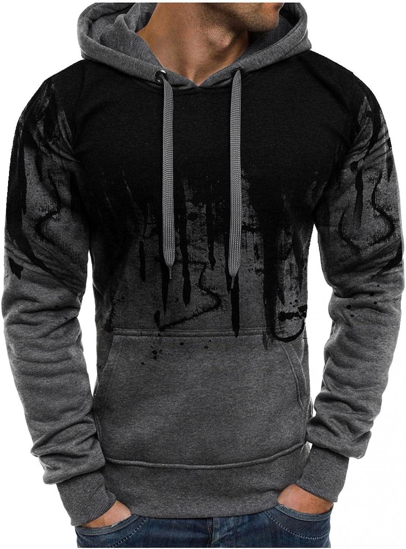 Hoodies for Men Men's Ink-Splash Pocket Drawstring Printed Long Sleeve Hooded Sports Top Fashion Hoodies & Sweatshirts Blouse