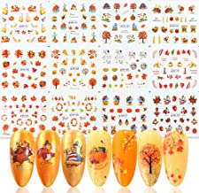 Fall Nail Art Stickers Water Transfer Nail Decals 12 Sheets Autumn Pumpkin Maple Leaves Thanksgiving Nail Stickers for Women Girls Kids DIY Nail Art Decoration Manicure Tips Charms Design