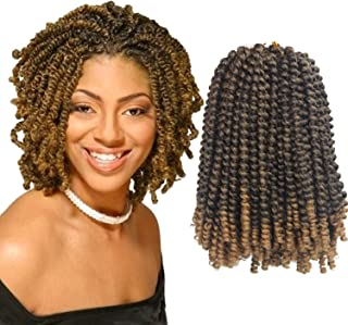 Eerya Afro Spring Twist Crochet Braids 3 Pack Bomb Mini Passion Twists Crochet Hair Ombre Colors Synthetic Jamaican Bounce Short Fluffy Hair Extension 8Inch (1B/27#)