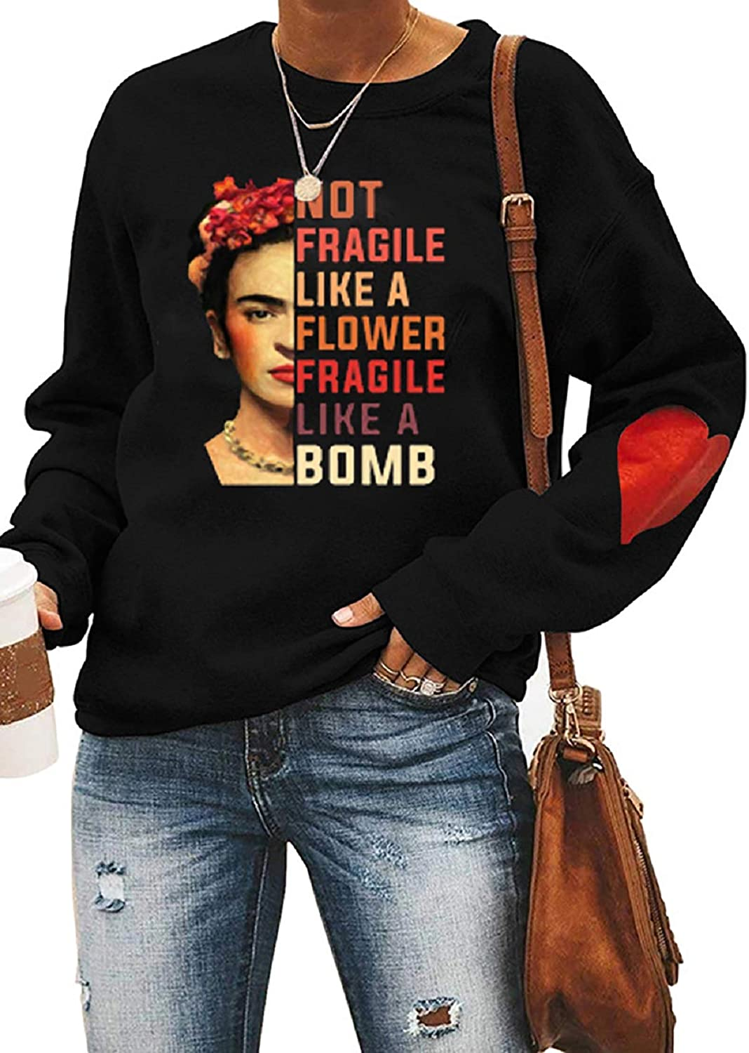Womens Love Pattern Long Sleeve Sweatshirt Frida Kahlo Floral Mexico T-Shirt Tee Crew Neck Casual Pullover Top
