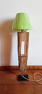 WOOD & STONE Bazar LAMPADA IN LEGNO CON PARALUME DESIGN ELEMENT luce salotto arredamento scrivania