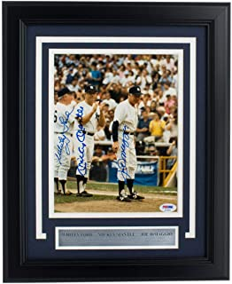 Whitey Ford Mickey Mantle Joe DiMaggio Yankees Signed Framed 8x10 Photo - PSA/DNA Certified - Autographed MLB Photos