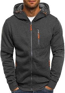 Leorealko Winter Hoodies Hooded Jumper Hoody Jacket Men's Windproof Jacket Slim Fit Hooded Sweatshirt Outwear Sweater Warm Coat Jacket