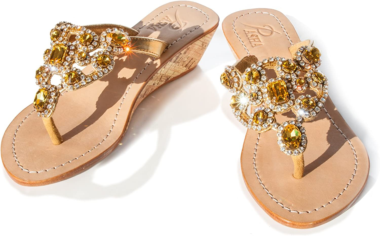 PASHA Gorgeous Jeweled Genuine Leather shoes, Style St. Lucia