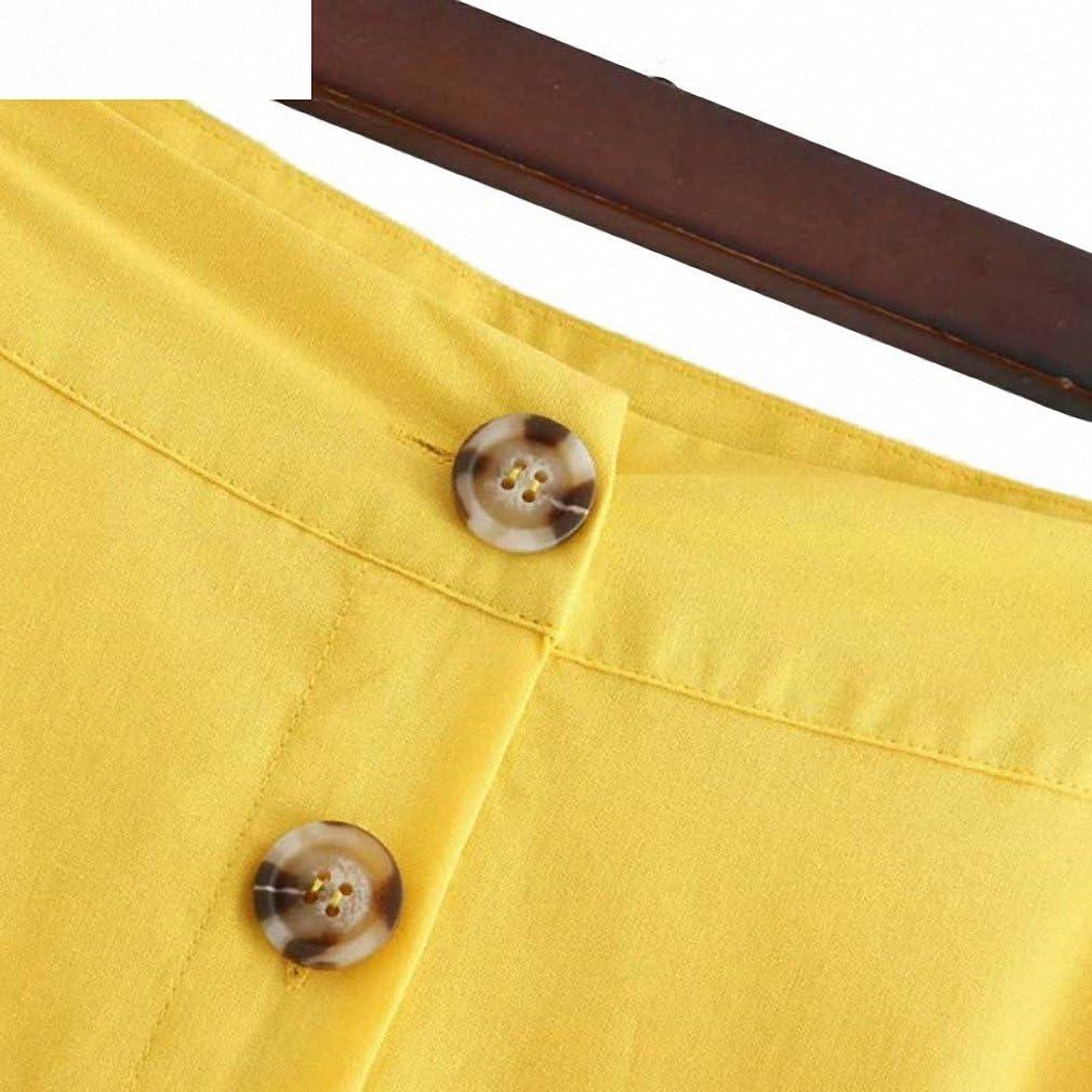 Womens Elegant Yellow Mid Calf Skirt Button Decorate Side Split Faldas Mujer Ladies Basic Casual Summer Chic Skirts