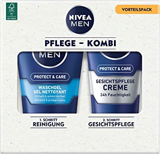 NIVEA Men Face Duo Pack - Juego de cuidado facial con gel Nivea Men Protect & Care (100 ml) y crema Nivea Men Protect & Ca...