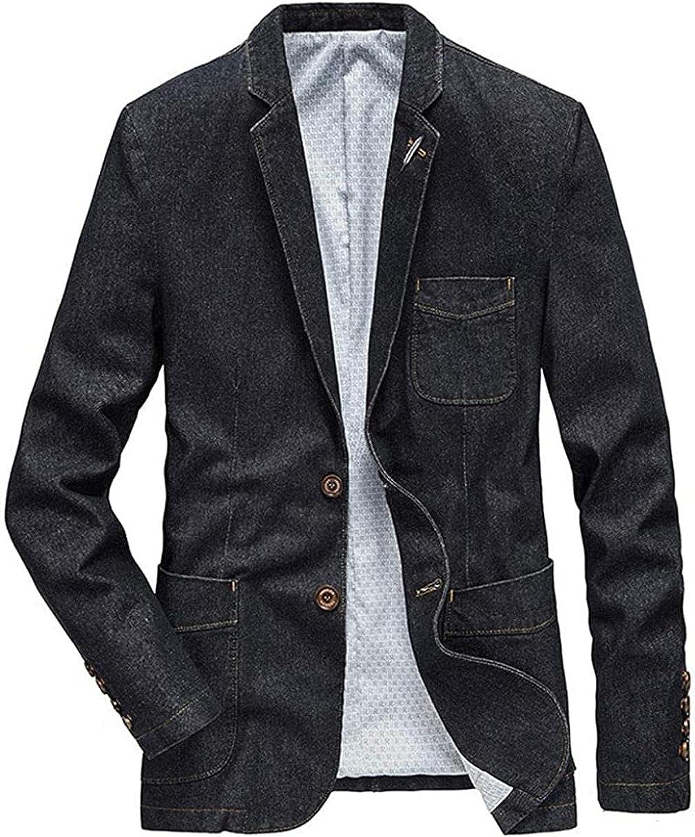 Men's Casual Slim Denim Blazer Two Button Business Suit Jacket Sport Coat